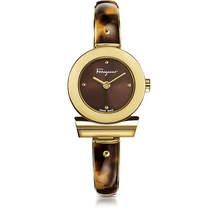 Gancino Gold IP Stainless Steel and Brown Acetate Women's Watch w/Brown Dial - Salvatore Ferragamo