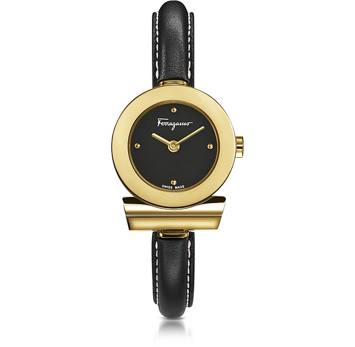 Gancino Gold IP Stainless Steel and Black Leather Strap Women's Watch - Salvatore Ferragamo