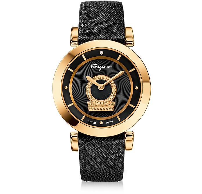 Minuetto Gold IP Stainless Steel Women's Watch w/Black Saffiano Leather Strap - Salvatore Ferragamo