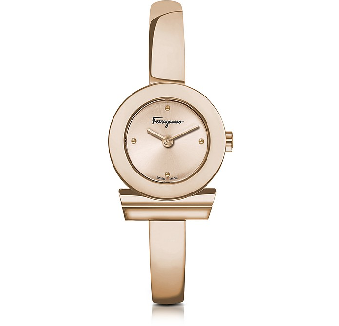Gancino Rose Gold IP Stainless Steel Women's Watch w/Sunray Guilloche' Dial - Salvatore Ferragamo