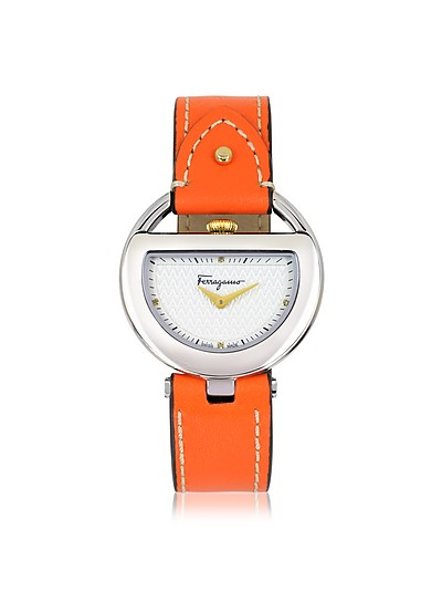 Buckle Collection Silver Tone Stainless Steel Case and Orange Leather Strap Women's Watch - Salvatore Ferragamo