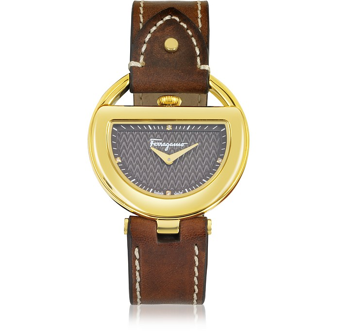 Buckle Collection Gold IP Stainless Steel Case and Brown Leather Strap Women's Watch - Salvatore Ferragamo
