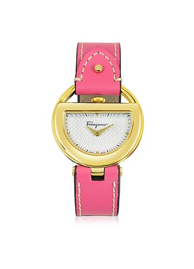 Buckle Collection Gold IP Stainless Steel Case and Fuchsia Leather Strap Women's Watch - Salvatore Ferragamo