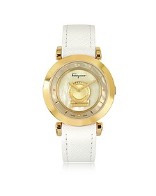 Minuetto Gold IP Stainless Steel Case and White Leather Strap Women's Watch - Salvatore Ferragamo