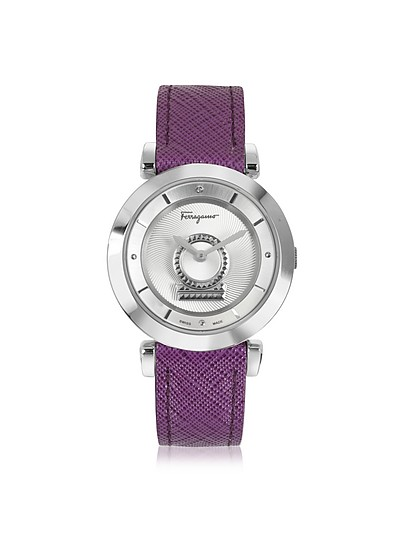 Minuetto Silver Tone Stainless Steel Case and Purple Leather Strap Women's Watch - Salvatore Ferragamo