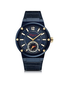 F-80 Motion Blue IP Stainless Steel Men's Watch w/Blue Croco Embossed and Black Rubber Strap - Salvatore Ferragamo