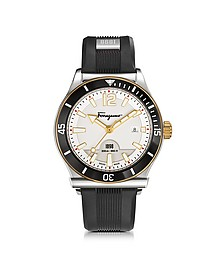 Ferragamo 1898 Sport Stainless Steel Men's Watch w/Black Rubber Strap - Salvatore Ferragamo