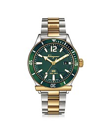 Ferragamo 1898 Sport Gold IP and Stainless Steel Men's Bracelet Watch w/Green Aluminum Rotating Bezel - Salvatore Ferragamo