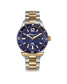 Ferragamo 1898 Sport Gold IP and Stainless Steel Men's Bracelet Watch w/Blue Aluminum Rotating Bezel - Salvatore Ferragamo