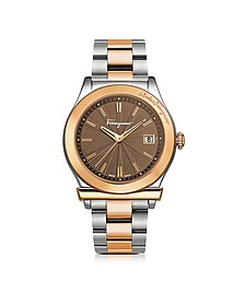 Ferragamo 1898 Sport Rose Gold IP and Stainless Steel Men's Bracelet Watch w/Brown Dial - Salvatore Ferragamo