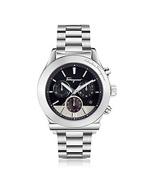 Ferragamo 1898 Silver Stainless Steel Men's Chronograph Watch w/Black Dial - Salvatore Ferragamo
