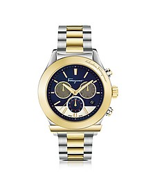Ferragamo 1898 Stainless Steel and Gold IP Men's Chronograph Watch w/Blue Dial - Salvatore Ferragamo