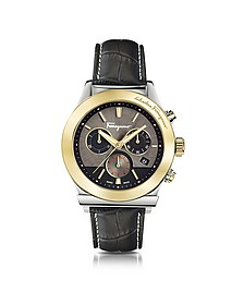 Ferragamo 1898 Gold IP Stainless Steel Men's Chronograph Watch w/Black Croco Embossed Strap - Salvatore Ferragamo