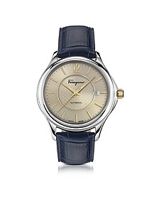 Ferragamo Time Silver Stainless Steel Men's Automatic Watch w/Blue Croco Embossed Strap - Salvatore Ferragamo