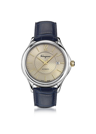 Ferragamo Time Silver Stainless Steel Men's Automatic Watch w/Blue Croco Embossed Strap - Salvatore Ferragamo