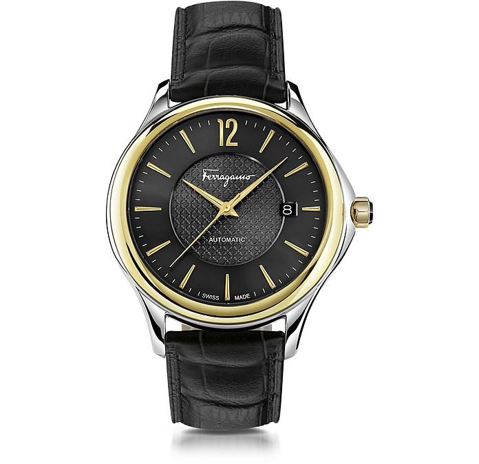 Ferragamo Time Automatik-Herrenuhr aus Edelstahl in silber und Gold IP mit krokogeprägtem Armband in schwarz - Salvatore Ferragamo