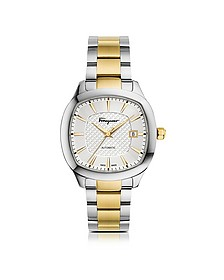 Ferragamo Time Silver Stainless Steel and Gold IP Men's Automatic Watch w/Silver Guilloche' Dial - Salvatore Ferragamo