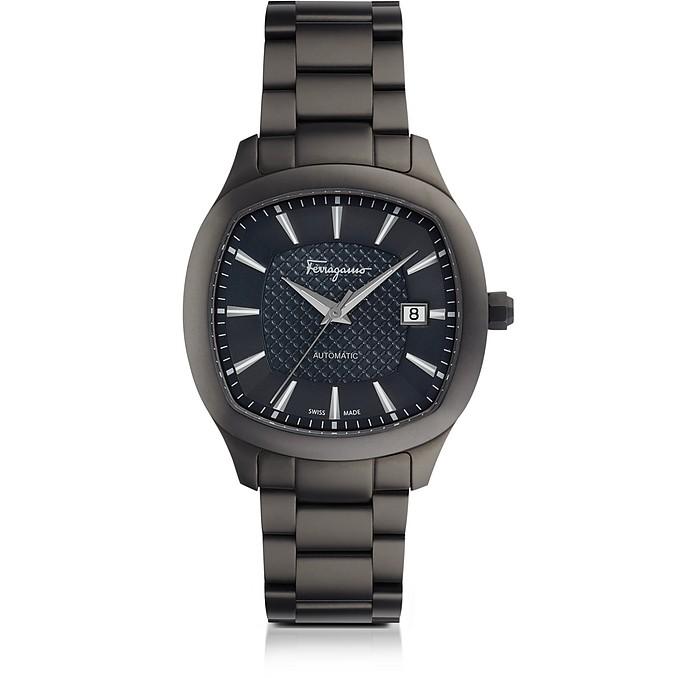 Ferragamo Time Gun IP Stainless Steel Men's Automatic Watch w/Blue Guilloche' Dial - Salvatore Ferragamo
