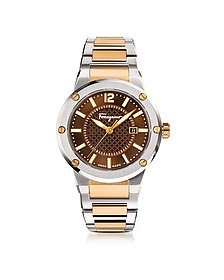 F-80 Silver Stainless Steel and Rose Gold IP Men's Bracelet Watch w/Brown Dial - Salvatore Ferragamo