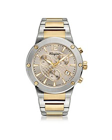 F-80 Silver Stainless Steel and Gold IP Men's Chronograph Watch w/Silver Guilloche' Dial - Salvatore Ferragamo