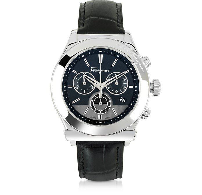 471bb23b13d Ferragamo 1898 Silver Tone Stainless Steel Case and Black Leather Strap  Men's Watch - Salvatore Ferragamo