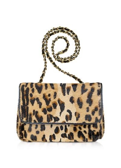 Schultertasche mit Leopardenprint auf Kalbshaar - Fontanelli