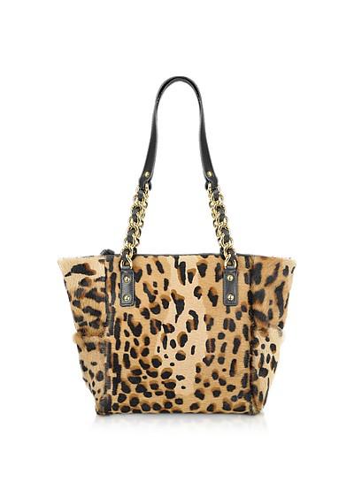 Shopper aus Kalbshaar mit Leopardenmuster - Fontanelli