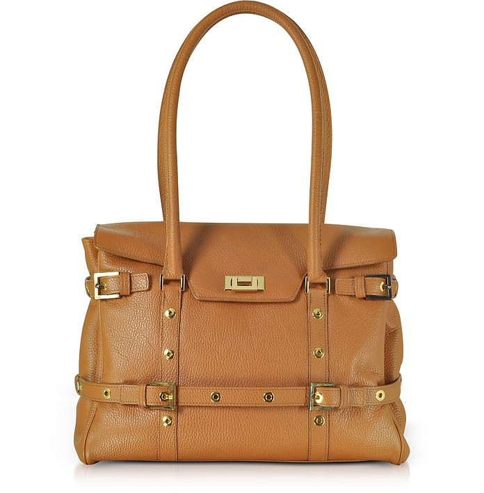 Camel Buckled Calf Leather Satchel Bag - Fontanelli