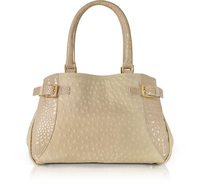 Beige-graue Handtasche aus Leder mit Kroko- & Straußenprägung - Fontanelli