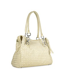 Ivory Woven Italian Suede & Leather Satchel Bag - Fontanelli