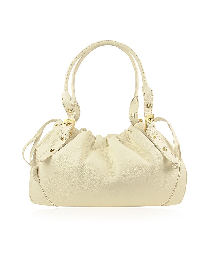 Ivory Italian Genuine Leather Drawstring Tote Bag - Fontanelli