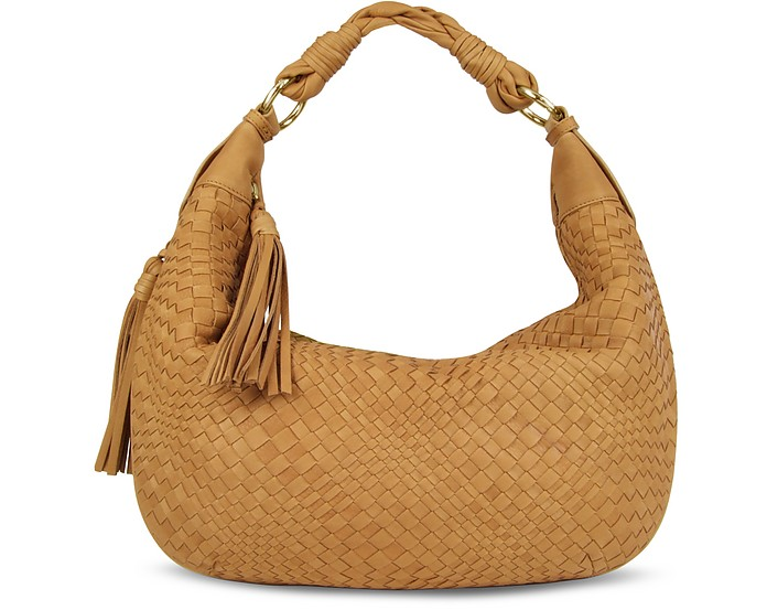Tan Washed Woven Leather Gusset Hobo Bag - Fontanelli