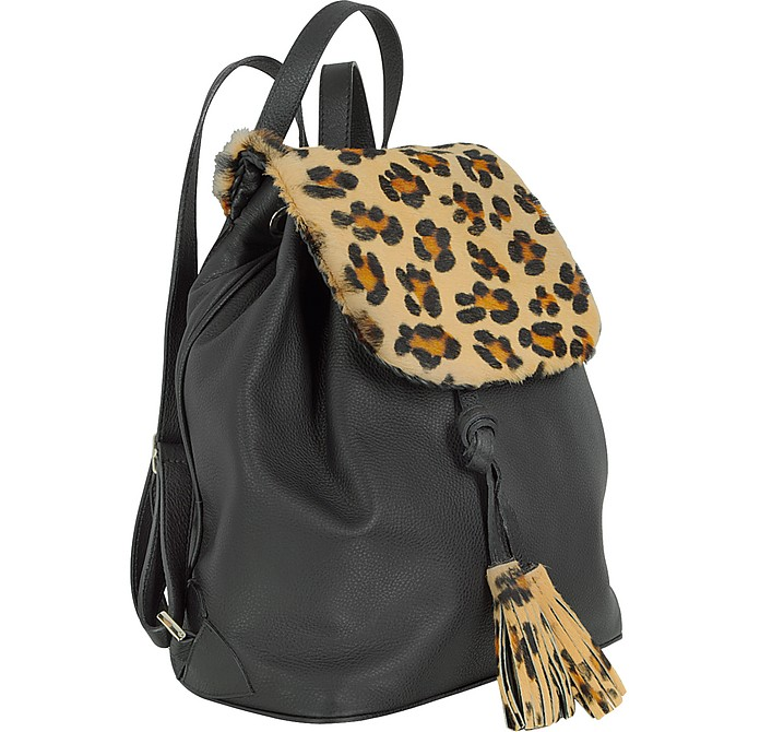 Fontanelli Handbags, Calfhair and Leather Backpack