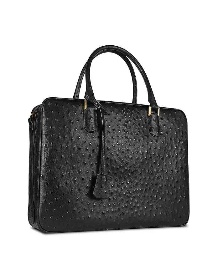 Schwarzer Vogelstrauß - Brieftasche aus bedrucktem Leder - Fontanelli
