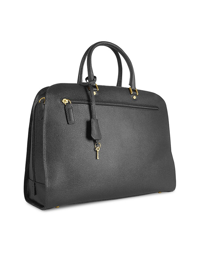 Ladies' Black Lizard Stamped Leather Briefcase - Fontanelli