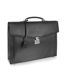 Men's Black Grained Leather Briefcase - Fontanelli
