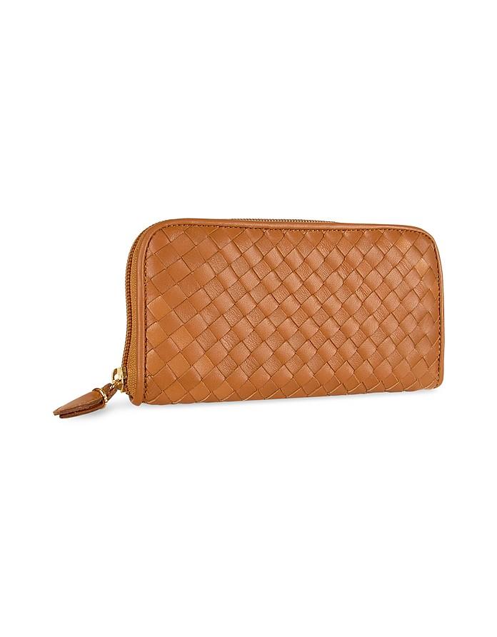 Women's Brown Italian Woven Leather Concertina Zip Wallet - Fontanelli
