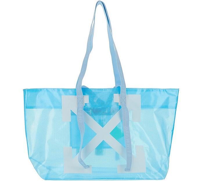 Light Blue Transparent Arrow Print Tote Bag - Off-White