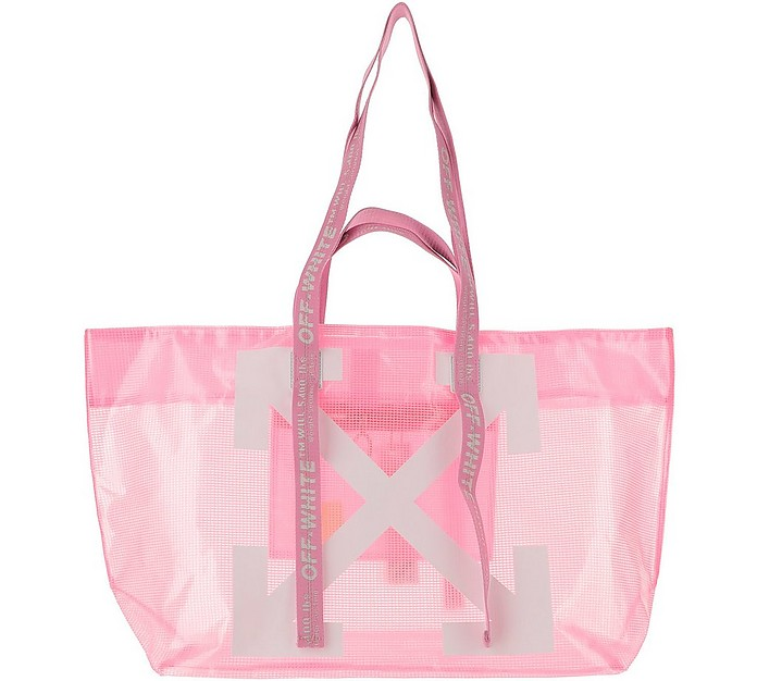 Pink Transparent Arrow Print Tote Bag - Off-White