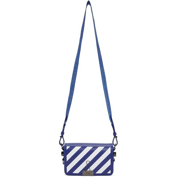 Blue and White Mini Diag Flap Bag - Off-White