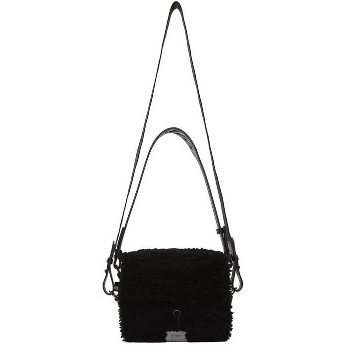 Black Shearling Montone Flap Bag - Off-White