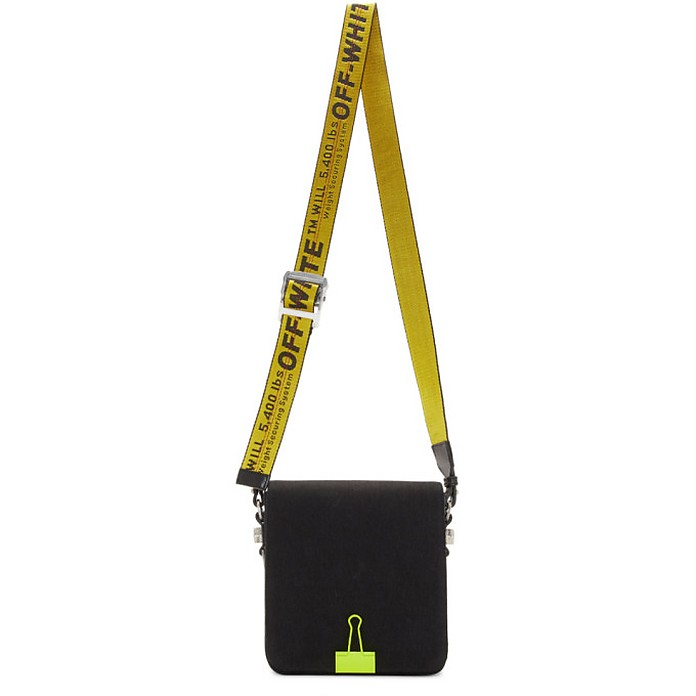 Black and Yellow Binder Clip Bag - Off-White