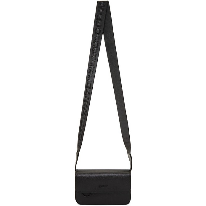 Black Flap Crossbody Bag - Off-White