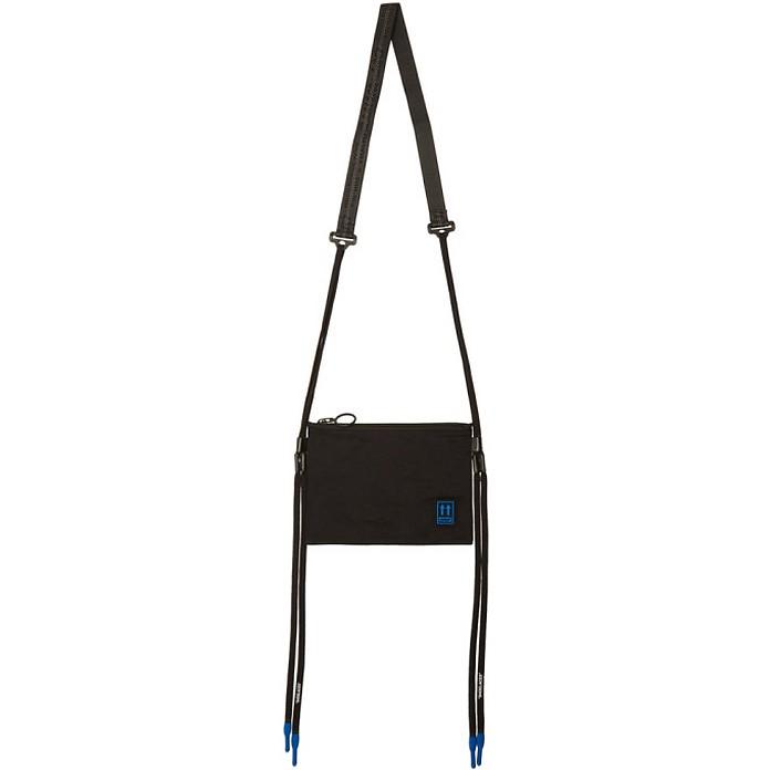 Black Flat Crossbody Bag - Off-White