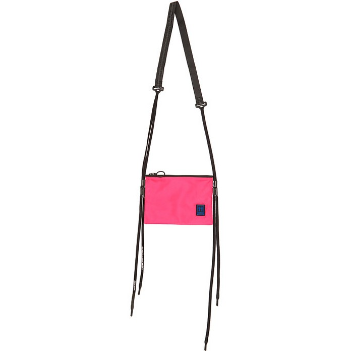 Pink and Black Flat Crossbody Shoulder Bag - Off-White