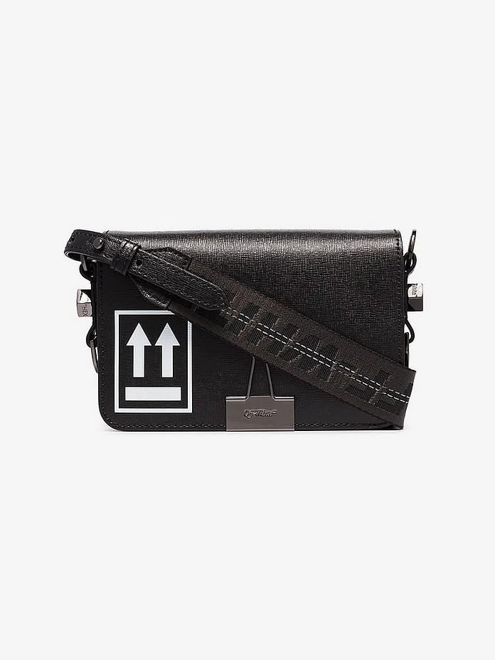 Black arrow logo mini leather shoulder bag - Off-White