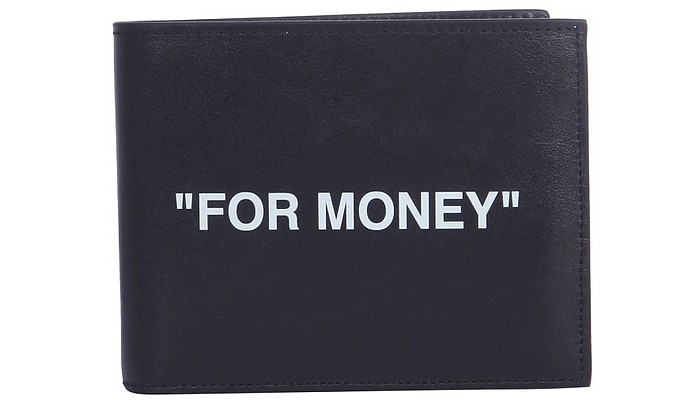 Black Leather For Money Print Bifold Wallet - Off-White / オフホワイト