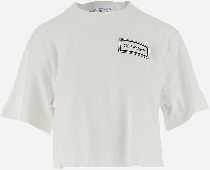 White Cotton Women's Shortsleeves Cropped T-shirt - Off-White