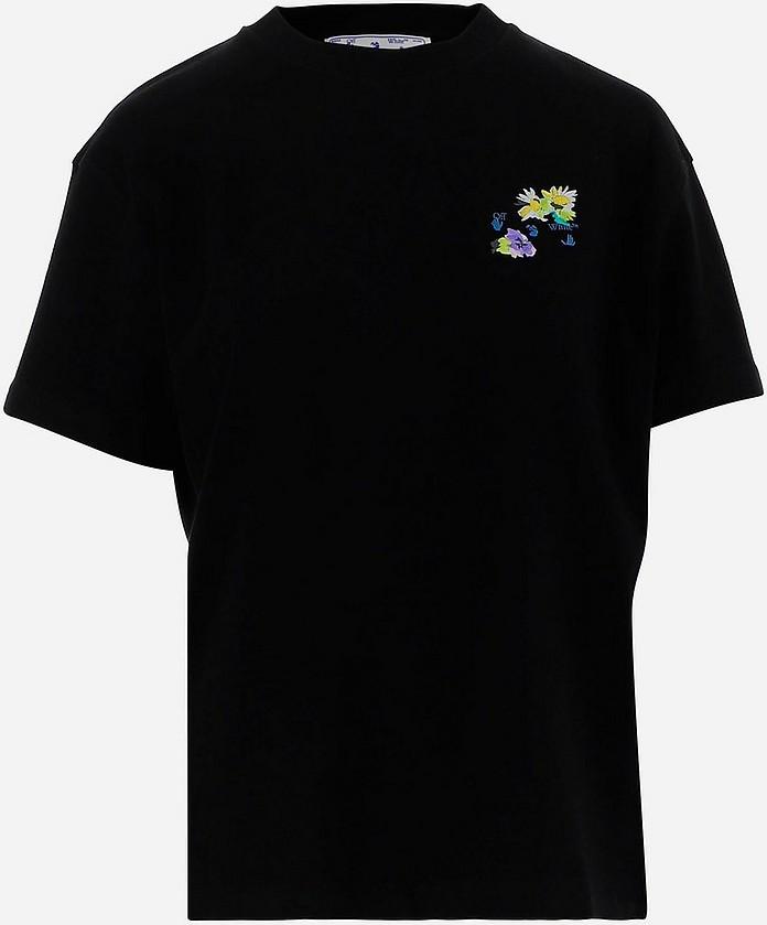 Black Cotton Women's Shortsleeves T-shirt - Off-White