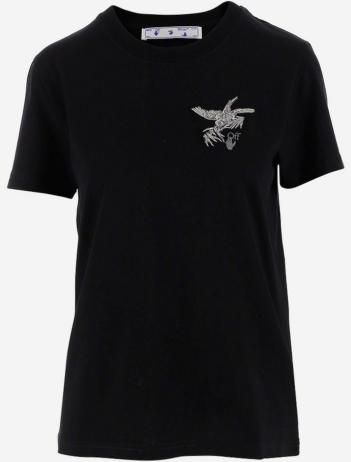 Black Cotton Women's T-shirt w/Birds Reflective Embroidery - Off-White